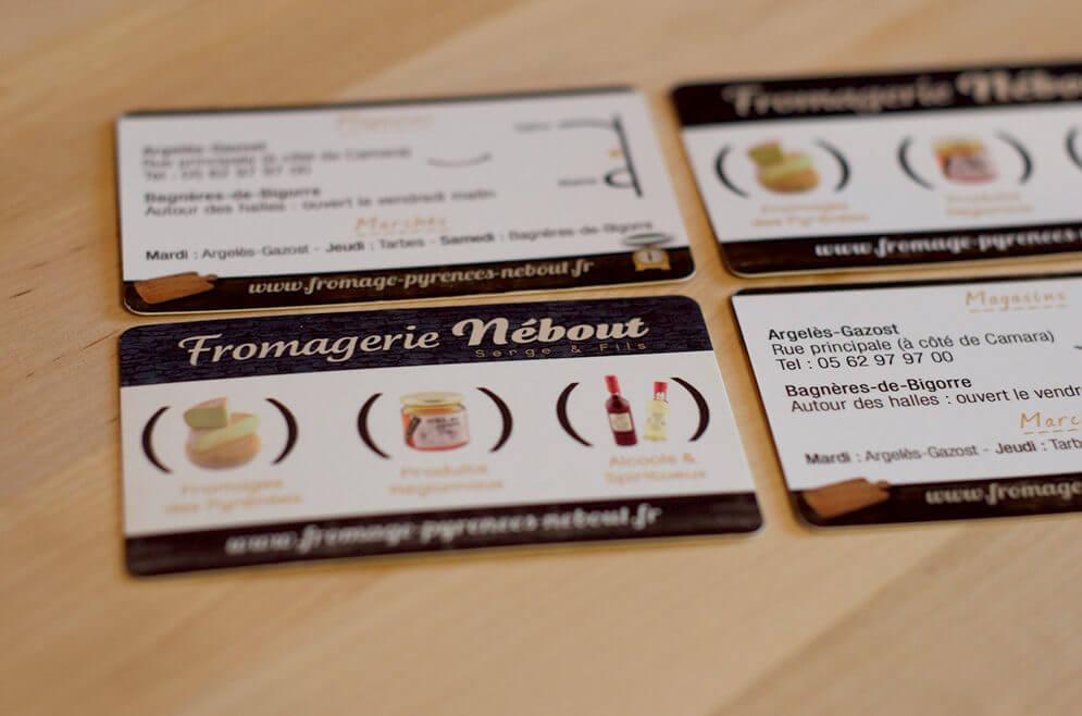Création carte de visite fromagerie pyrenées