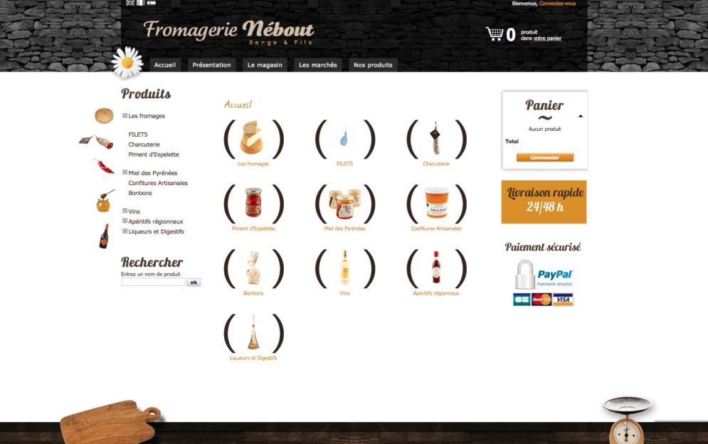 Boutique en ligne pour la fromagerie Nebout à Argeles-Gazost