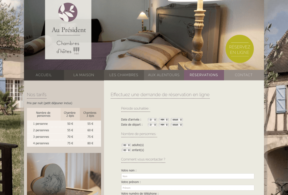 Création site internet chambres hôtes, Gers