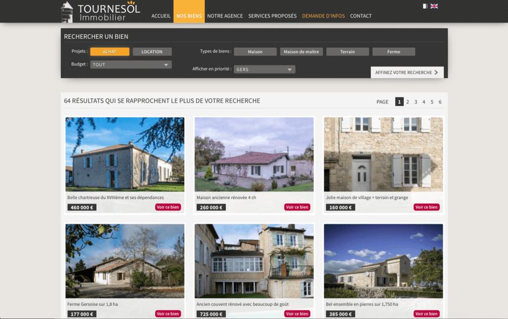 Création site web pour agence immobilière
