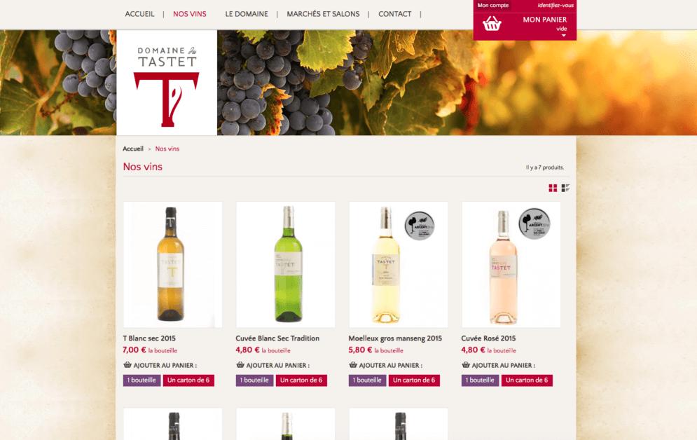 Boutique en ligne pour le Domaine du Tastet à Pouillon