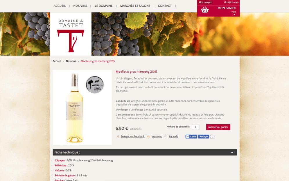 Boutique en ligne pour domaine viticole
