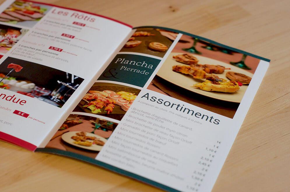 Création dépliant menu traiteur