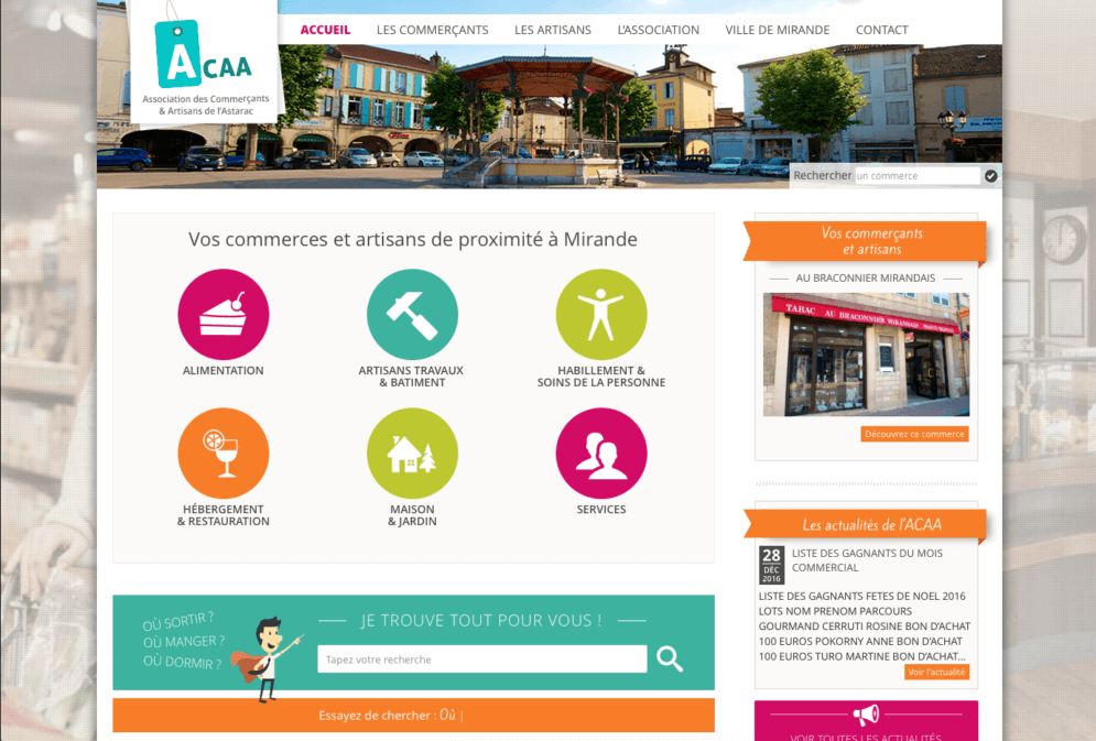 Site pour association de commerçants de Mirande dans le Gers