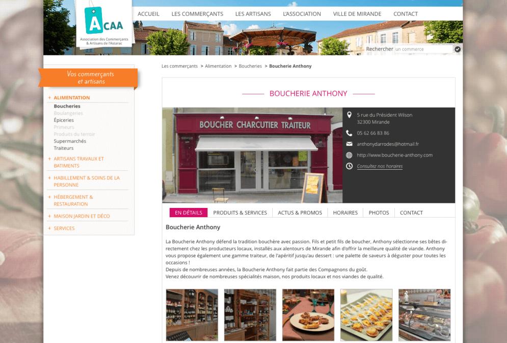 Site pour association de commerçants de Mirande