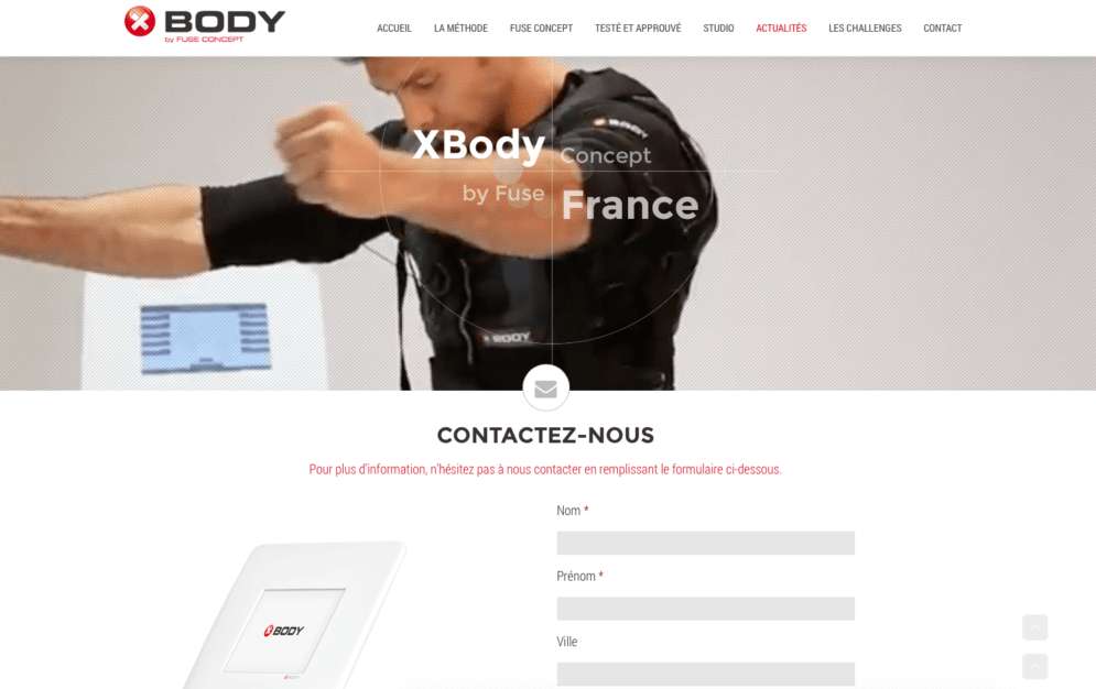 Site internet pour Xbody by Fuse Concept