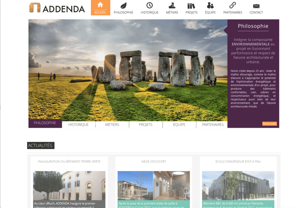 Site internet WordPress dans le Gers pour la société Addenda