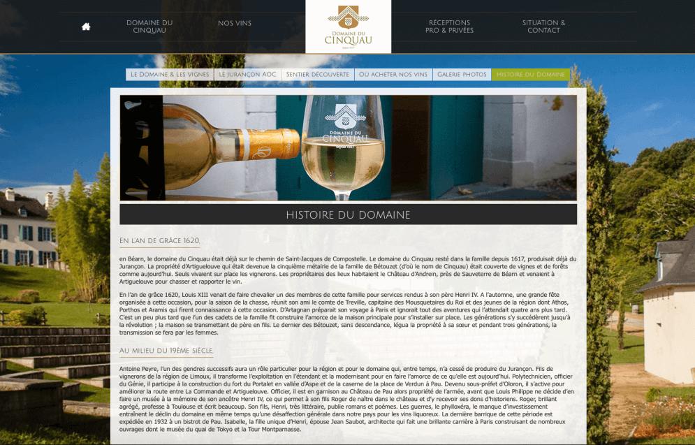 Site internet du Domaine du Cinquau