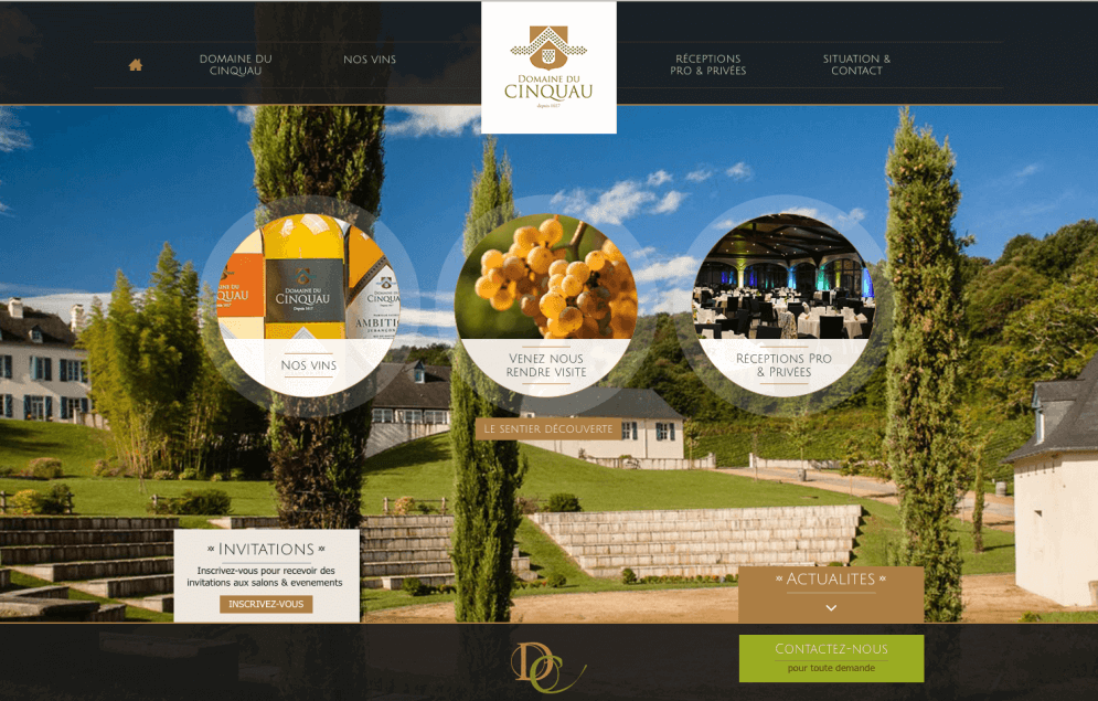 Page d'accueil du site du Domaine du Cinquau