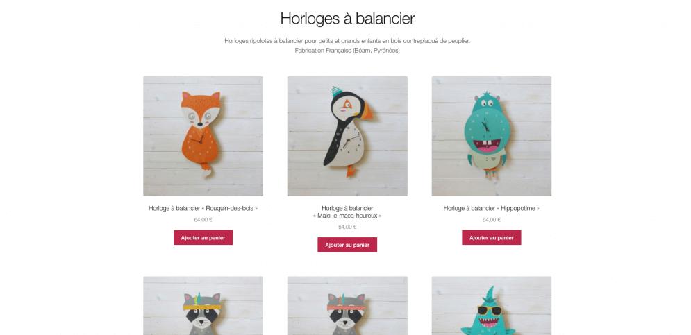 Site internet de vente d'horloges à balancier pour enfants