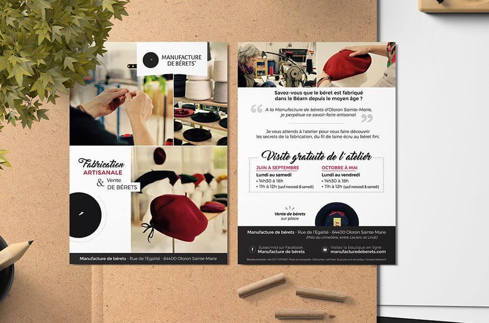Manufacture de Bérets : création d'un flyer recto verso