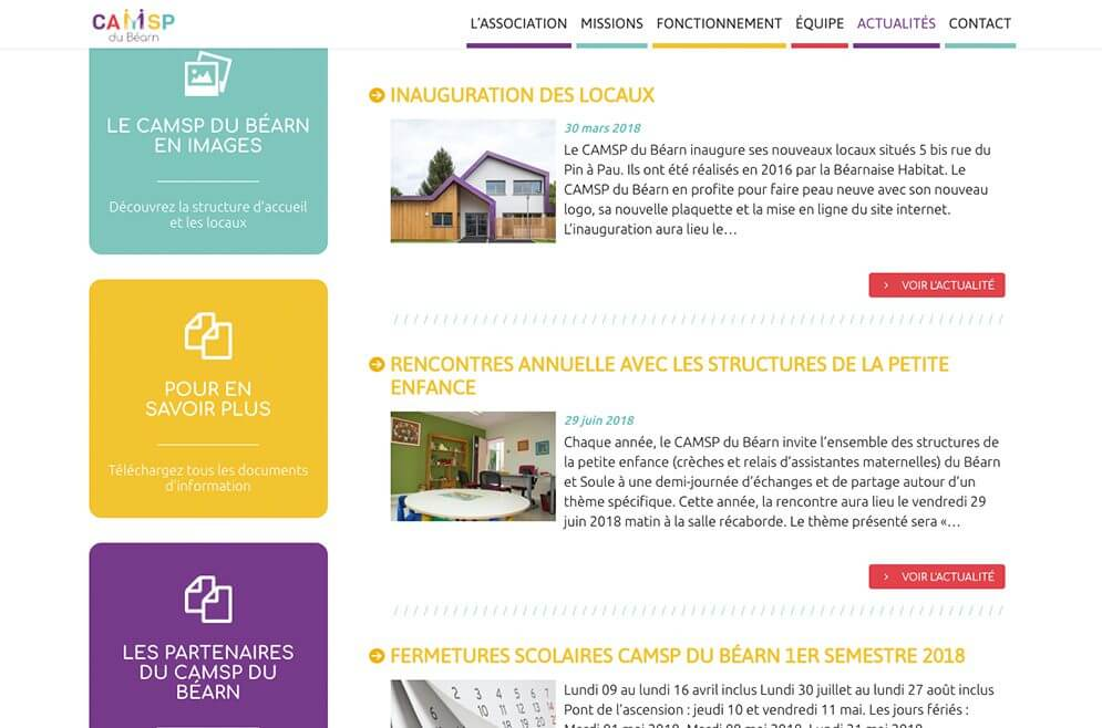 Site du CAMSP du Béarn réalisé avec Wordpress