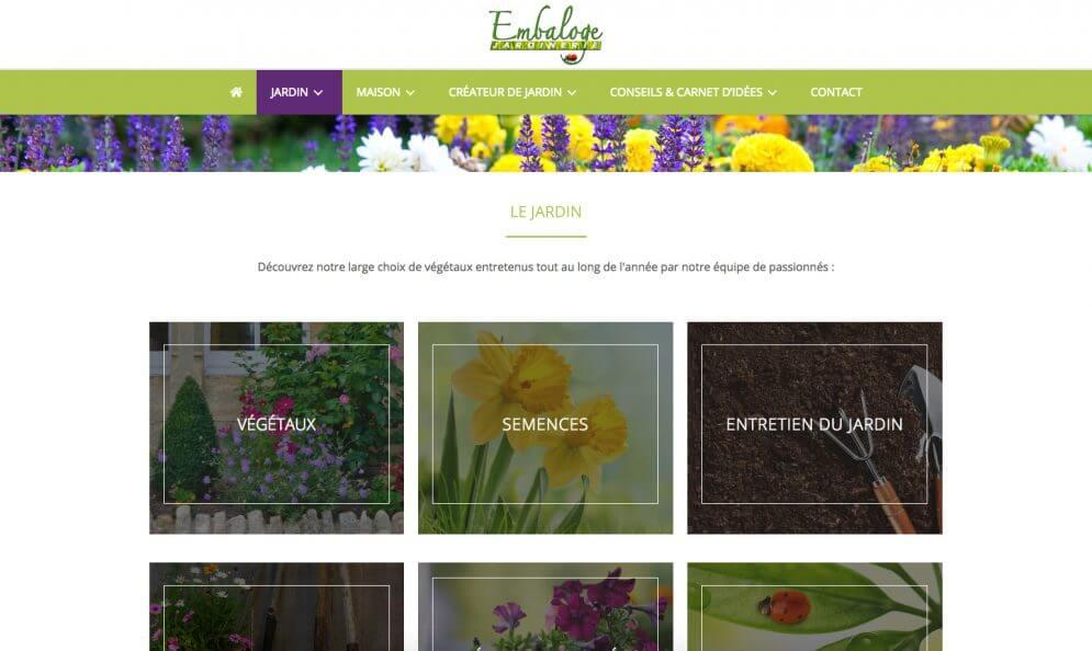 Jardinerie d'Embaloge à Mirande, captures du site internet