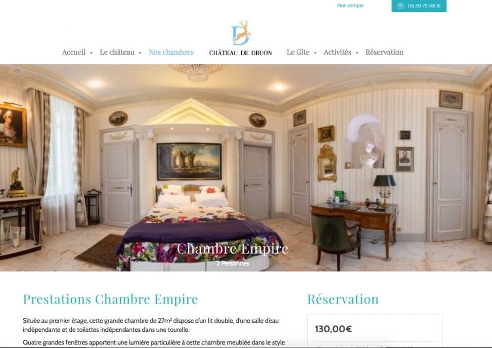 Page présentant une chambre du Château de Druon